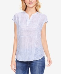 Vince Camuto Striped Cap Sleeve Top White