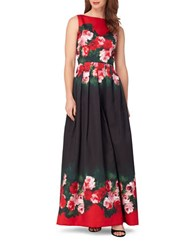 Tahari By Arthur S. Levine Sleeveless Floral Printed A Line Gown Black Scarlet