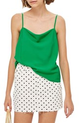 Topshop Cowl Neck Camisole Green