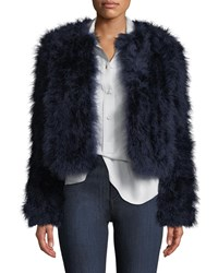 Lamarque Deora Turkey Feather Bomber Jacket Navy