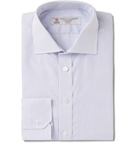 Turnbull And Asser Blue Slim Fit Pinstriped Cotton Shirt White