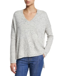Derek Lam 10 Crosby Speckled Cashmere V Neck Sweater Gray Melange Grey Melange