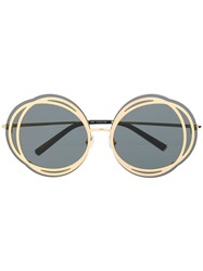 Matthew Williamson Contrast Round Frame Sunglasses Gold