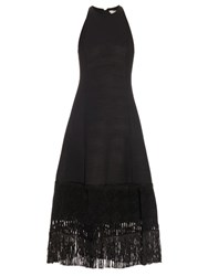Edun Embroidered Hem Wool Blend Dress Black