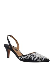 Kay Unger Fairlee Beaded Satin Sling Backs Black White