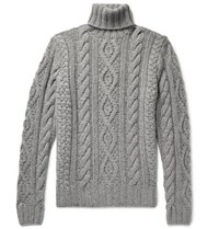 Ralph Lauren Purple Label Cable Knit Cashmere And Mohair Blend Rollneck Sweater Gray
