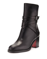 Christian Louboutin Karistrap Leather 70Mm Red Sole Ankle Boot Black