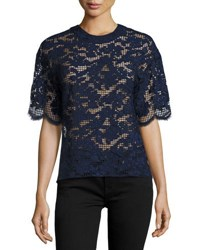 Prabal Gurung Short Sleeve Lace Tee Blue
