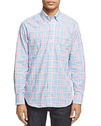 Tailorbyrd Senegal Plaid Classic Fit Button Down Shirt Aqua Blue Multicolored Plaid