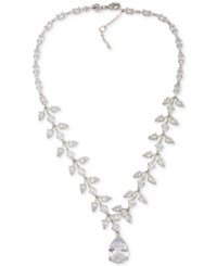Carolee Silver Tone Crystal Teardrop Statement Necklace