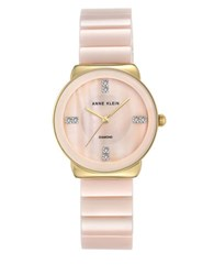 Anne Klein Round Diamond And Mother Of Pearl Bracelet Watch Light Pink