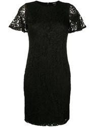 Dkny Fitted Lace Dress Black