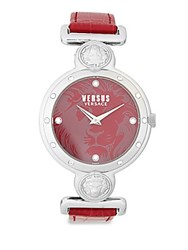 Versus By Versace Swarovski Crystal Studded Red Dial Leather Strap Watch Silver
