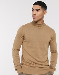 Bench Knitted Roll Neck In Camel Tan