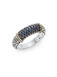 Effy 925 Sapphire Sterling Silver And 18K Yellow Gold Ring Silver Blue