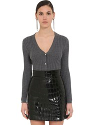 Miu Miu Wool Ribbed Knit Cardigan Ardesia