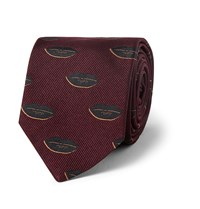 Dries Van Noten Lip Patterned Silk Jacquard Tie Burgundy