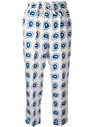 Kiton Paisley Print Cropped Trousers Blue