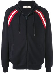 Bally Stripe Detail Zip Hoodie Blue