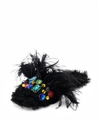 Miu Miu Jeweled Furry Flat Mule Black