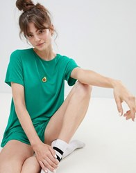 Adolescent Clothing Embroidered Avocado T Shirt And Shorts Pyjama Set Green