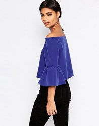 Asos Off The Shoulder Top With Ruffle Sleeve Cobalt Blue