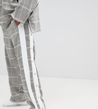 Add Sweatpants In Check With Side Stripe Poppers Brown