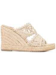 Paloma Barcelo Open Toe Wedge Sandals Nude Neutrals