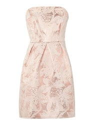 Untold Fifties Style Strapless Dress With Dropped Hem Light Pink