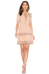 Nicholas Crepe Lace Up Back Dress Blush