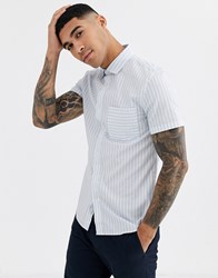 Celio Shirt With Vertical Stripe In Blue