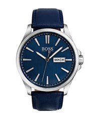 Hugo Boss The James 3 Hand Stainless Steel Analog Leather Strap Watch Navy Blue