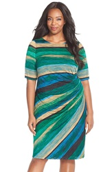 London Times Print Side Gather Jersey Sheath Dress Plus Size Teal Combo