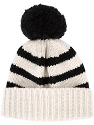 The Elder Statesman Cashmere Pom Pom Cap Black