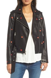 Bcbgeneration Women's Heart Embroidered Faux Leather Moto Jacket Black