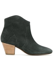 Isabel Marant Pointed Cowboy Boots Women Calf Leather Leather Suede 39 Green