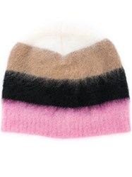 N 21 No21 Striped Beanie Unisex Mohair Wool Polyimide