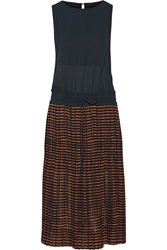A.L.C. Suki Pleated Crepe Dress Brown