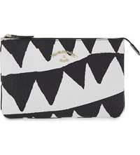 Vivienne Westwood Bristol Crocodile Embossed Leather Clutch White Triangle