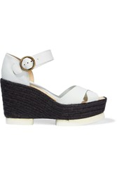 Paloma Barcelo Ceralin Textured Leather Espadrille Wedge Sandals White