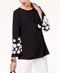 Alfani Floral Applique Top Created For Macy's Deep Black