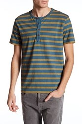Lucky Brand Short Sleeve Stripe Henley Blue
