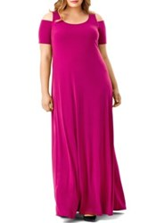 Mynt 1792 Cold Shoulder Maxi Dress Plus Size Pink