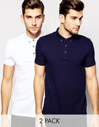Asos Pique Polo 2 Pack In Navy And White Navy White Multi