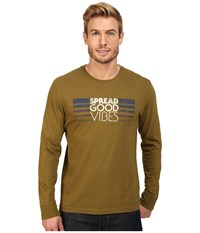 Life Is Good Spread Vibes Stripe Long Sleeve Crusher Tee Woodland Green Men's Long Sleeve Pullover