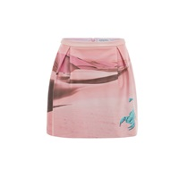 Gyunel Printed Leather Skirt Pink Purple