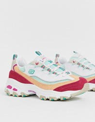 Skechers D'lite Chunky Trainers In White And Pink Multi