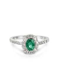 Forzieri Emerald And Diamond 18K White Gold Ring Green