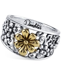 Unwritten Daughter Flower Ring In Sterling Silver And Gold Flashed Sterling Silver