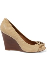 Tory Burch Mini Miller Croc Effect Leather Wedge Pumps Beige